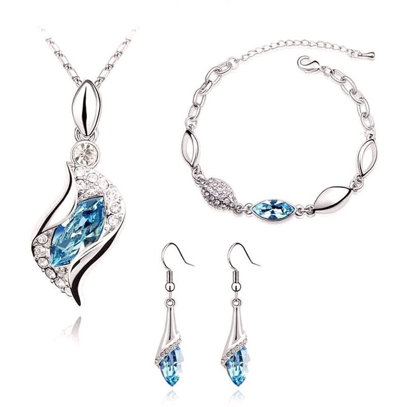 Onefeart Sterling Silver Necklace Bracelet Earrings Ring Jewelry Set for Women with Crystal Oval Shape