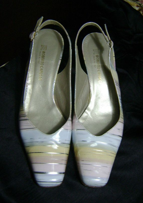 SALE Pastel Designer Slingback Shoes Vintage Spring Summer Pumps Pink Yellow Blue Silver Striped Italian Leather Sling Back Heels Capucci Si
