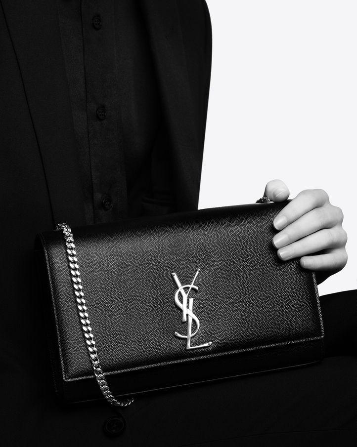 61ef53f702 Saint Laurent classic medium Kate monogram satchel, grain de poudre ...