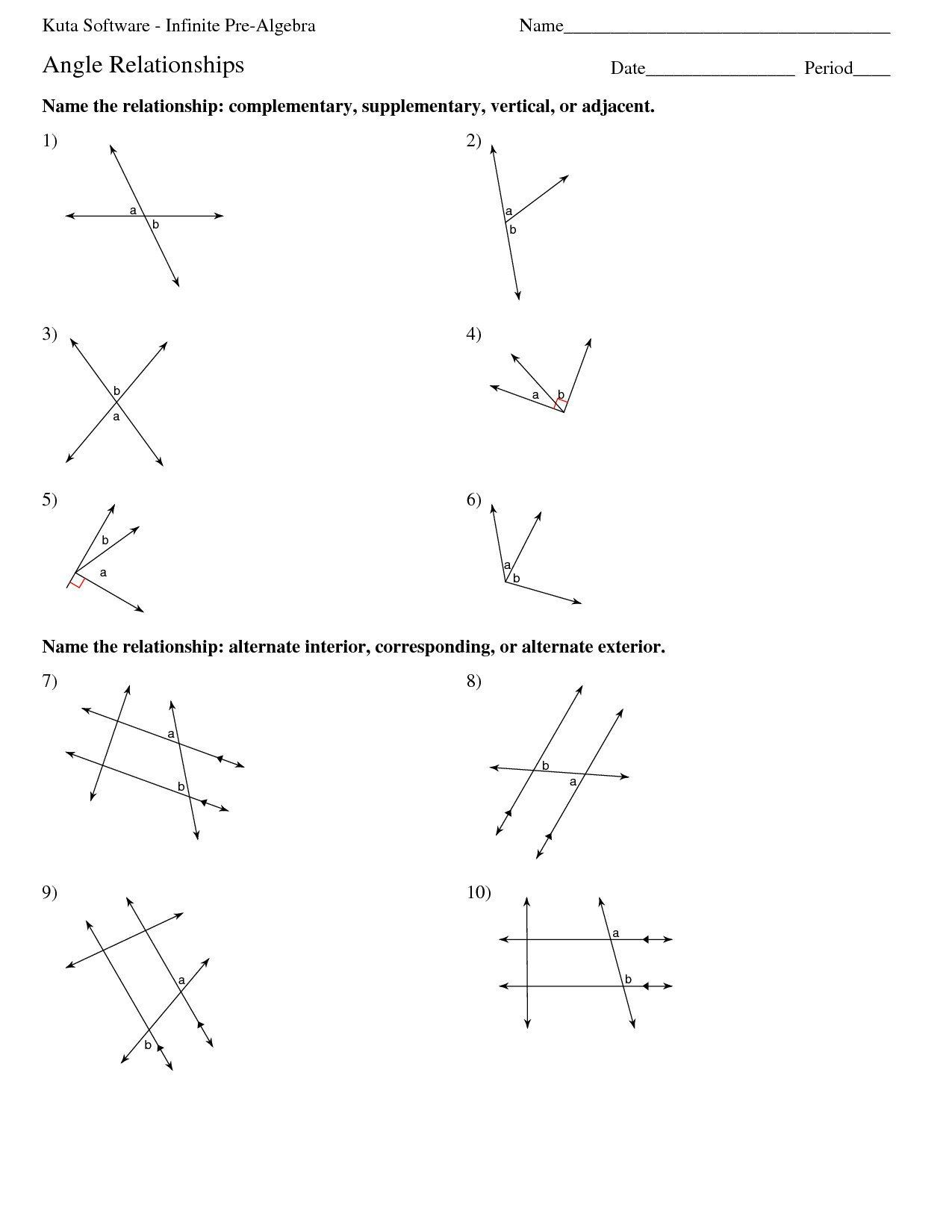 Vertical Angles Worksheet Algebra 6 Vertical Angles