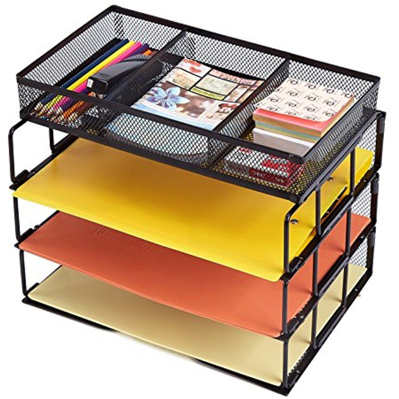 Rackarster Mesh Desktop Office Organizer 3-Tier Stackable Desk Paper ...