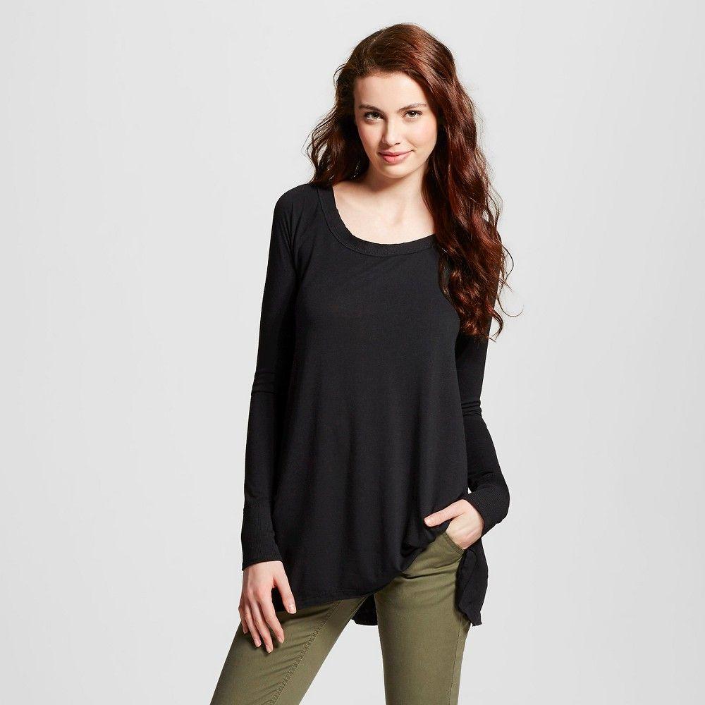 Women's Long Sleeve Drapey Tunic Black M - Mossimo Supply Co. (Juniors'), Size: Medium