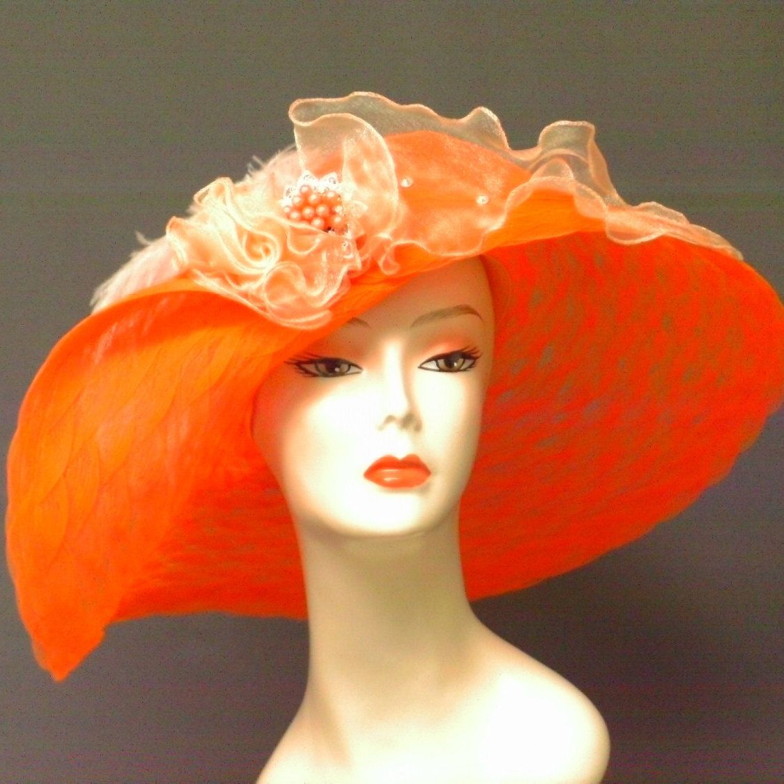 Orange Del Mar Hat, Kentucky Derby Hat, Garden Party Hat, Tea Party Hat, Church Hat, Wedding Hat, fashion hat, hat for woman 096 by crowninglorihats on Etsy https://www.etsy.com/listing/217295501/orange-del-mar-hat-kentucky-derby-hat