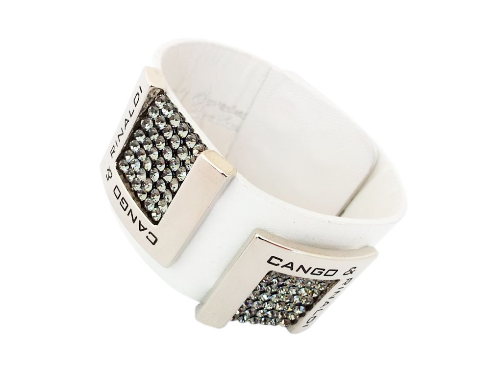 White leather Cango & Rinaldi bracelet with darker Swarovski crystals is the latest arrival to the popular 553 series.