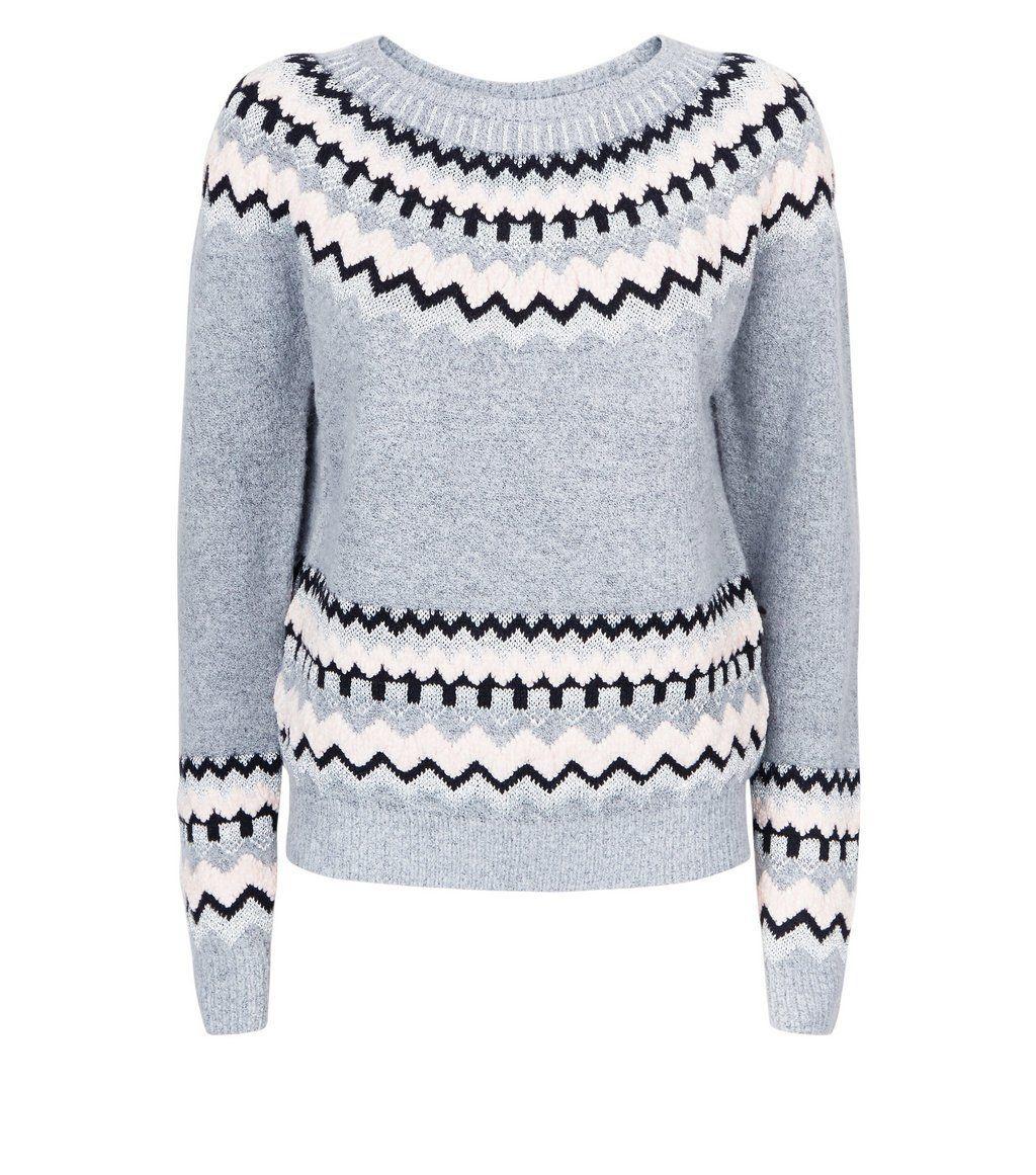 Light grey glitter trim fairisle knit jumper in boho and