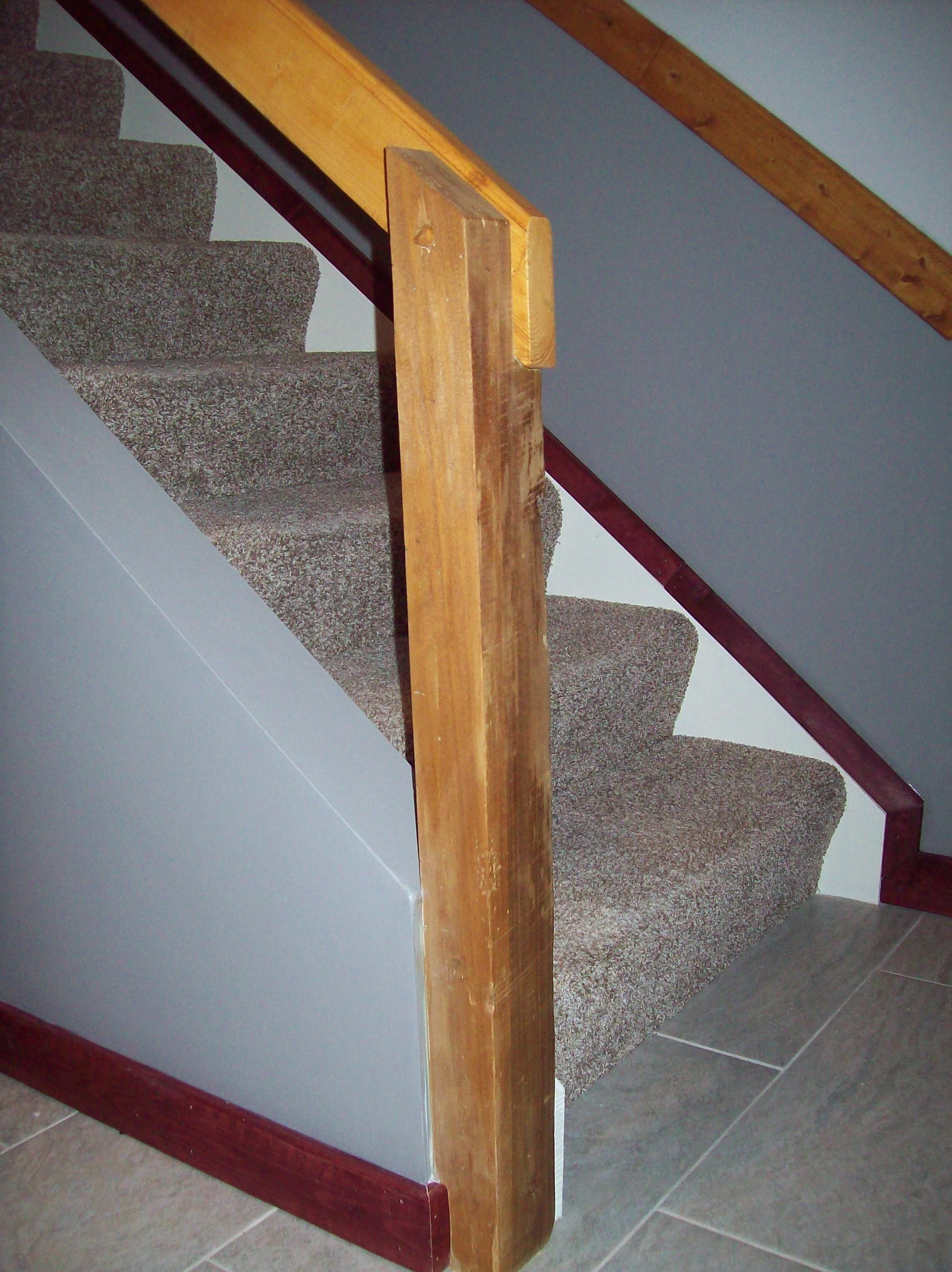 Removable Stair Rail That Was Finished Nailed At The Top Used A Reclaimed Barn Beam As Post And Handmade Peg To Attach Handrail