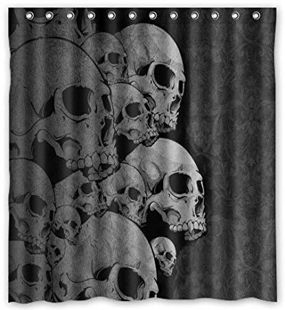 Bathroom Products Printed Polyester Bath Curtain Paisley Skulls Style Shower Curtain Skull Furniture Skull Gothic Bathroom