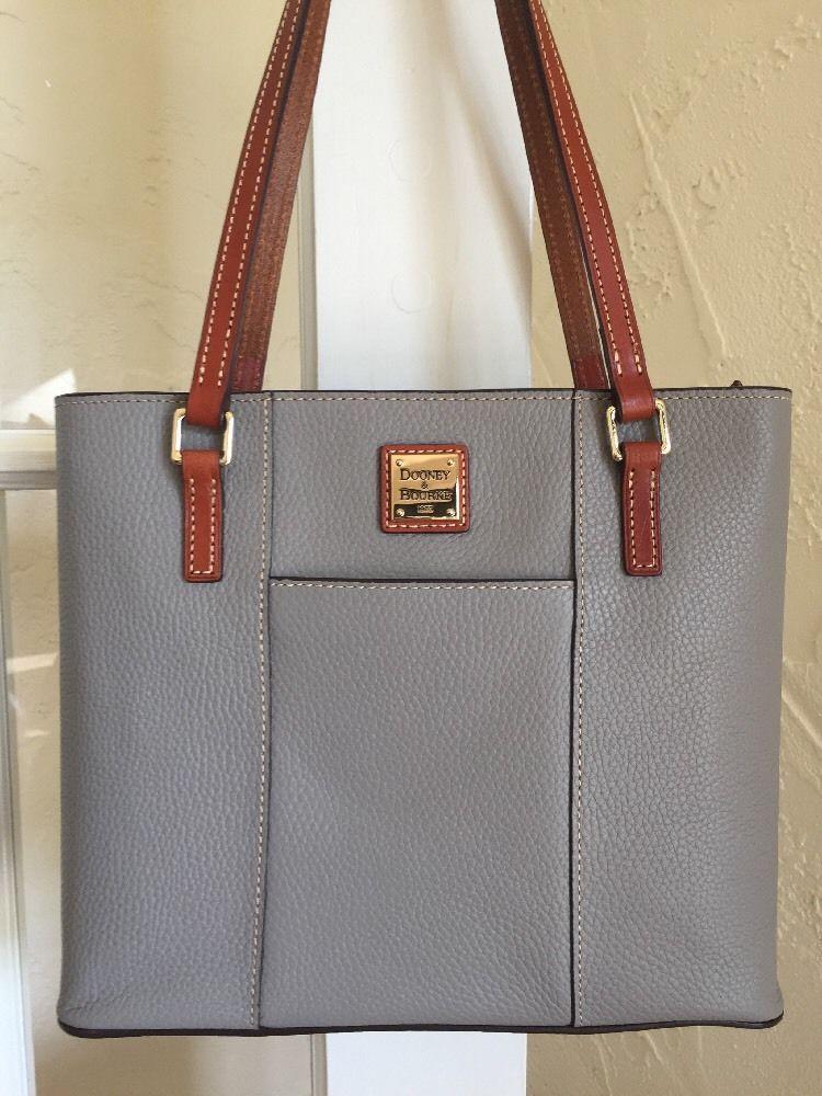 14df6095e839 Dooney Bourke Small Lexington Shopper Tote Smoke Gray Pebble Grain Leather