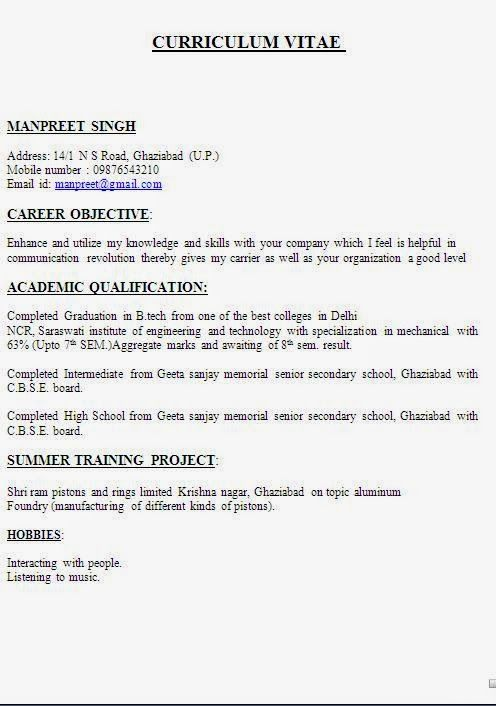 curriculum vitae template word Sample Template Example ofExcellent - Job Resume Format Download