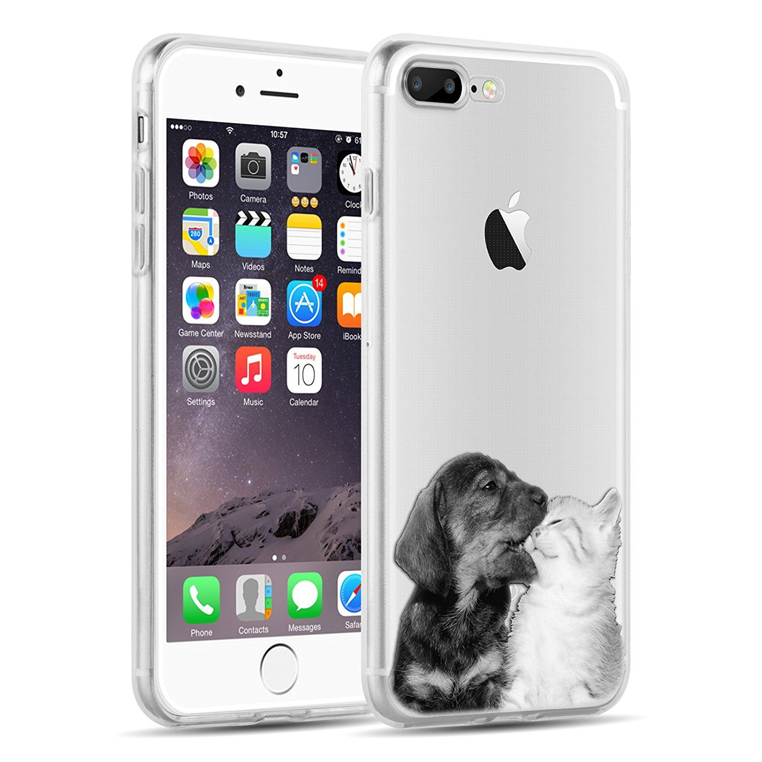 Iphone 8 Plus Iphone 7 Plus Clear Case Jammylizard Invisible Gel Sketch Clear Design Back Cover Dog Kiss Cat Iphone 7 Plus Iphone Iphone 7 Plus Cases