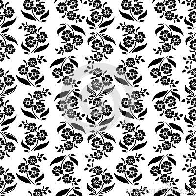 Vector Seamless Floral Pattern And Rose Flower Abstract Black And
