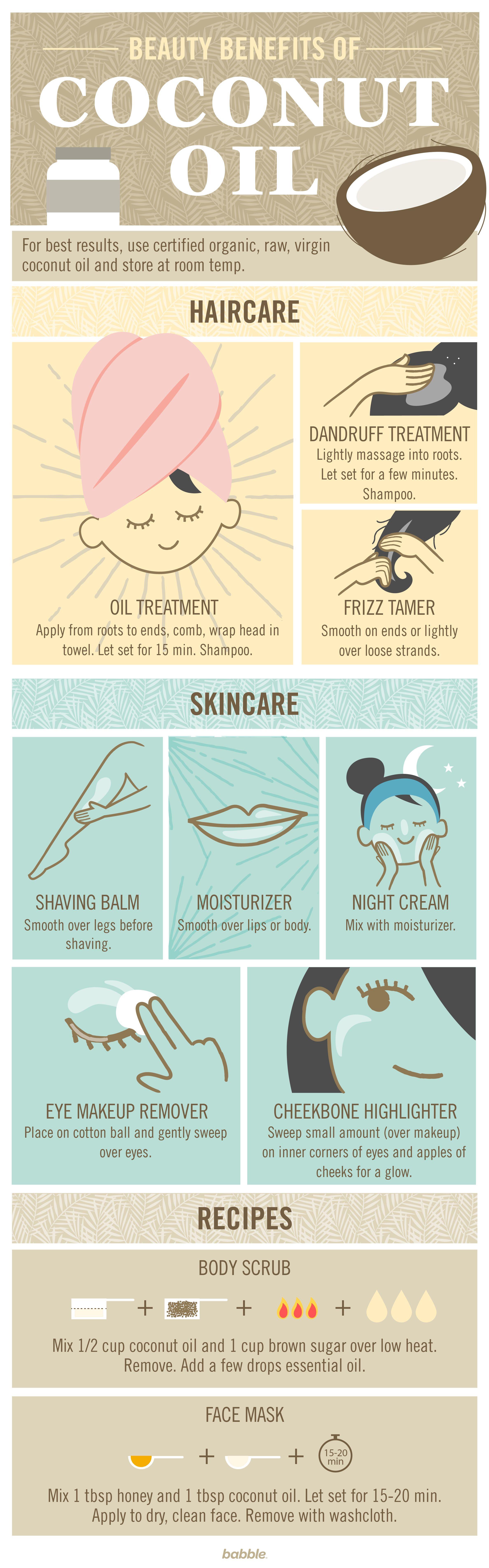 10 beauty benefits of coconut oil cosmetica huile de. Black Bedroom Furniture Sets. Home Design Ideas