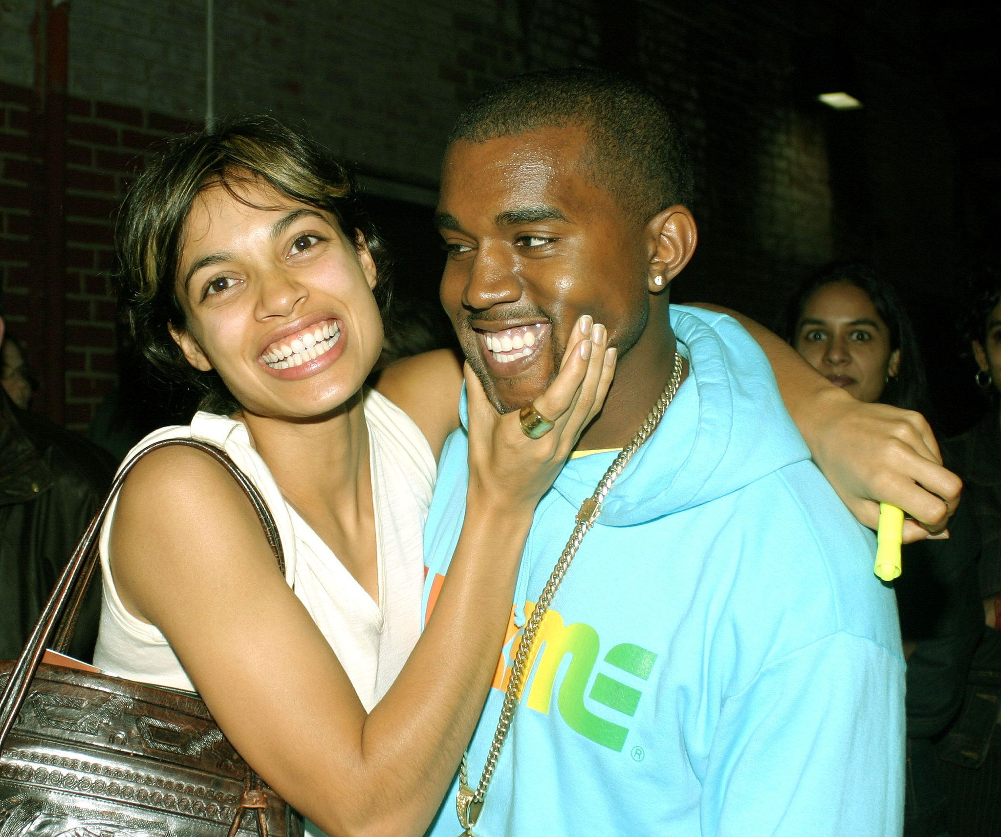 When Rosario Dawson Squeezed His Cheeks Kanye West Smiling Kanye West Kanye