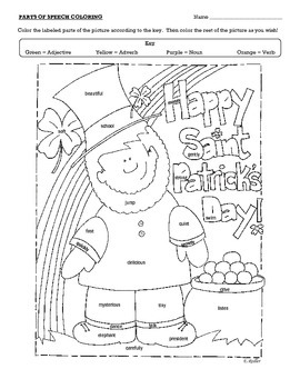 Saint Patrick's Day Parts of Speech Coloring Page in 2020