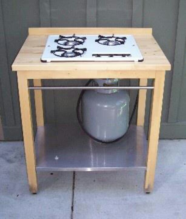 Outdoor stove ikea table and propane stove top...handy for ...
