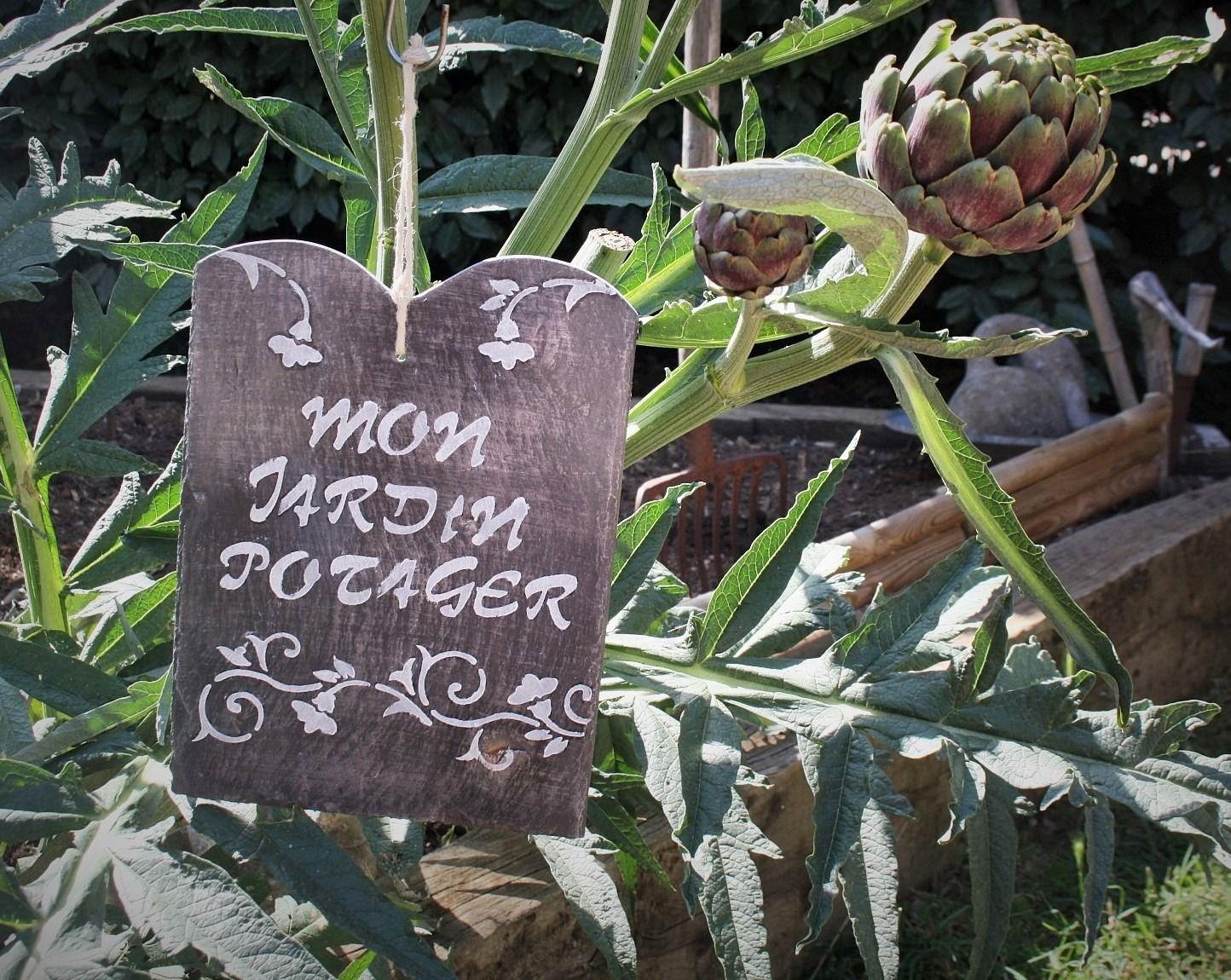 Panneau en ardoise mon jardin potager pancartes bois et ardoises potager jardin potager - Panneau ardoise jardin ...