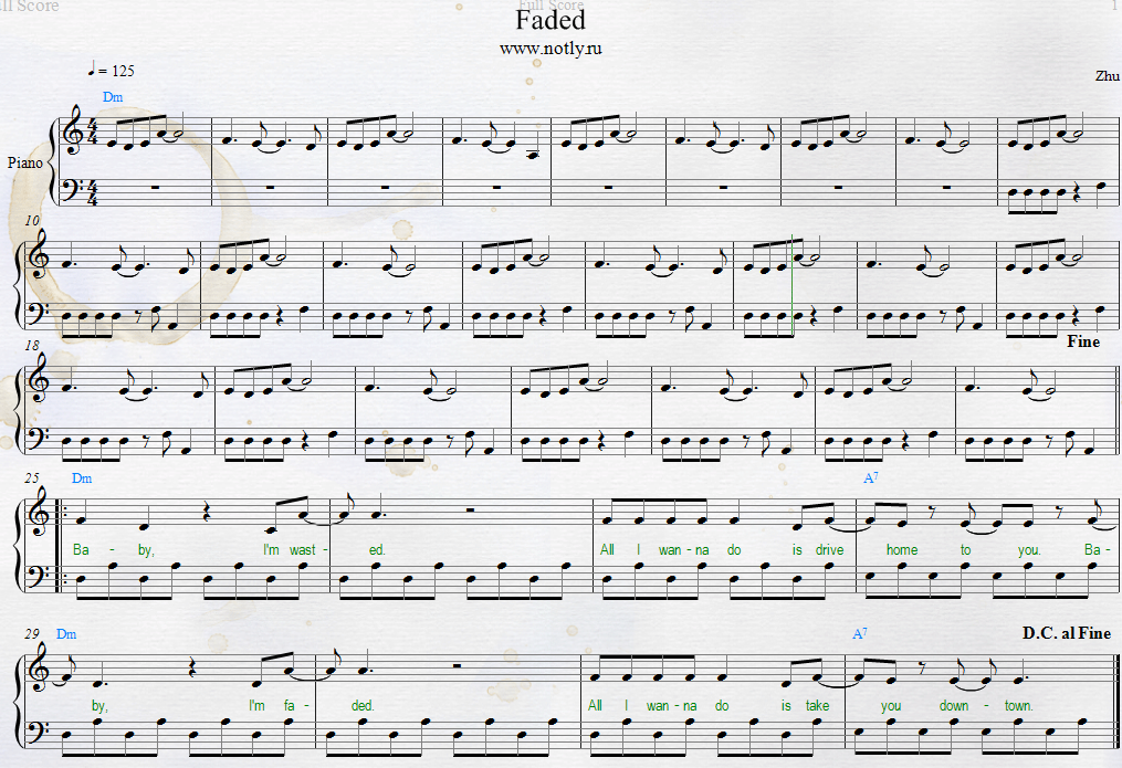 Zhu — Faded Piano Sheets | Piano Sheets | Pinterest | Piano sheet ...