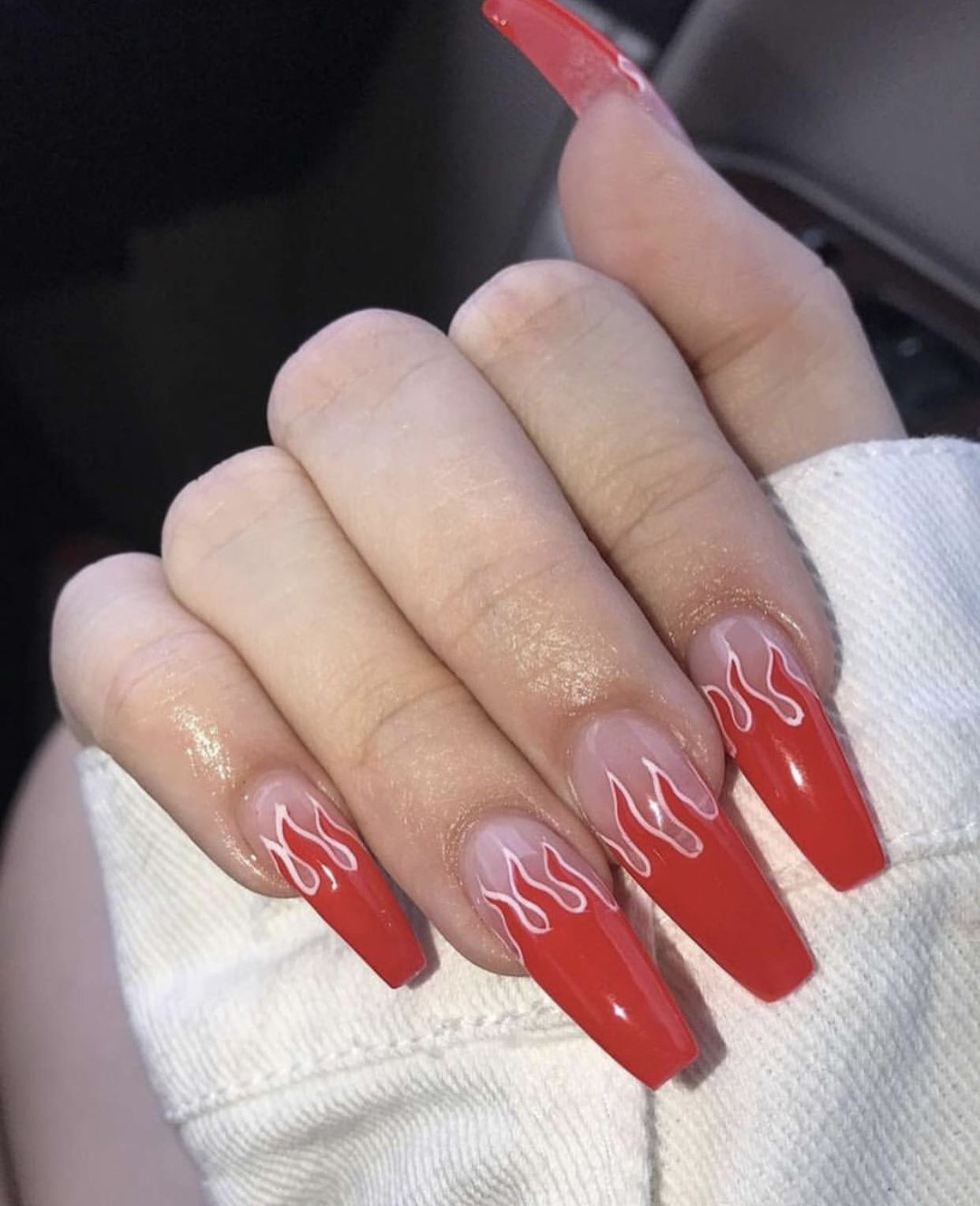 Red Flame Nails Red Ombre Nails Red Nails Swag Nails