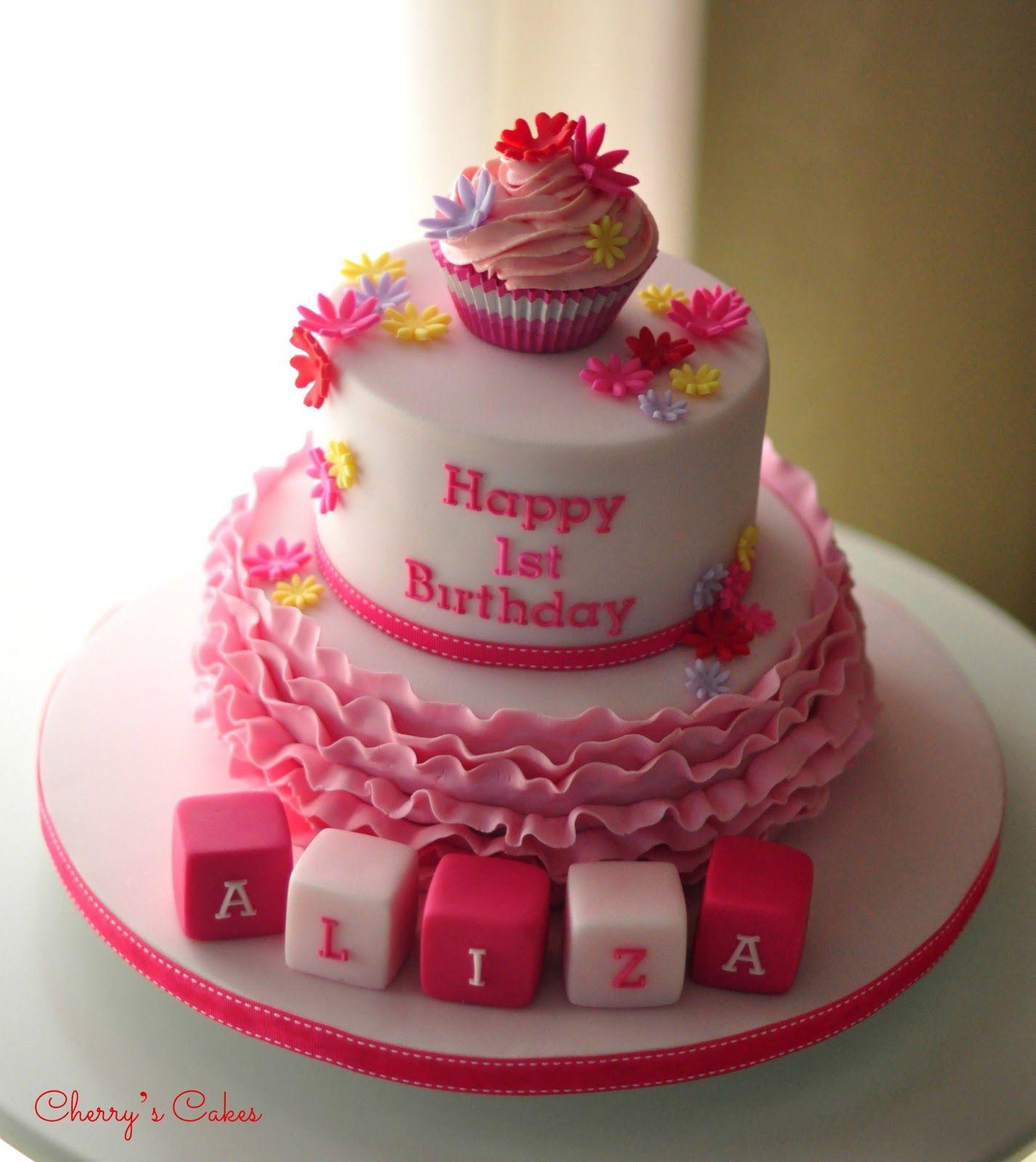 Surprising Pretty In Pink Cherry Cake Cake Cake Name Birthday Cards Printable Benkemecafe Filternl