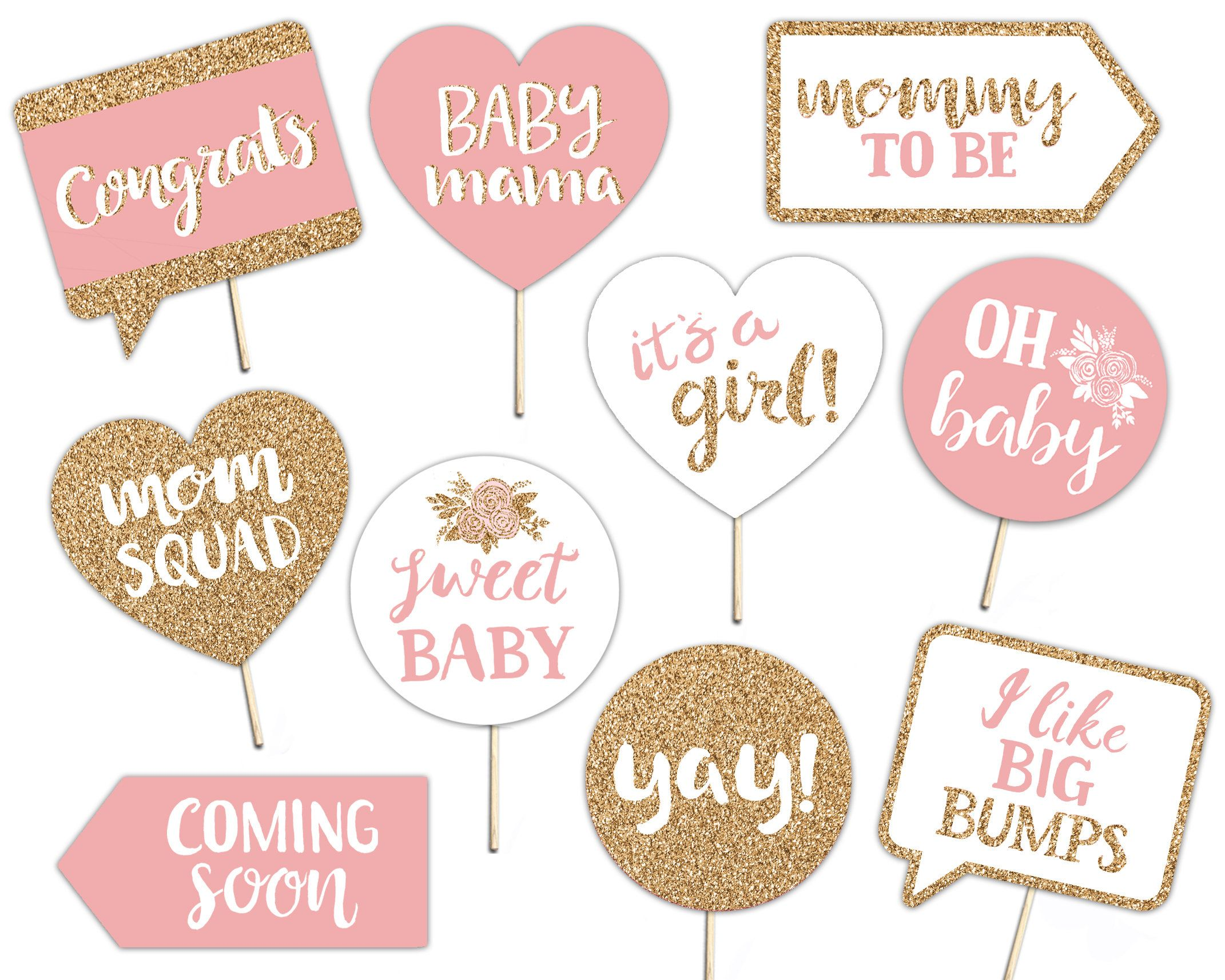 Baby Shower Printable Photo Booth Props Baby Girl Gold Baby Shower Signs Printable Baby Shower Printables Baby Shower Signs