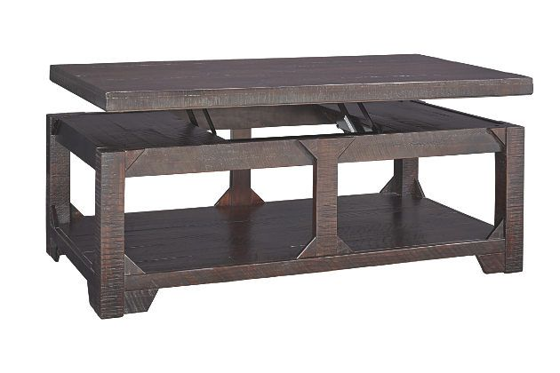 Rustic Brown Rogness Coffee Table with Lift Top View 2