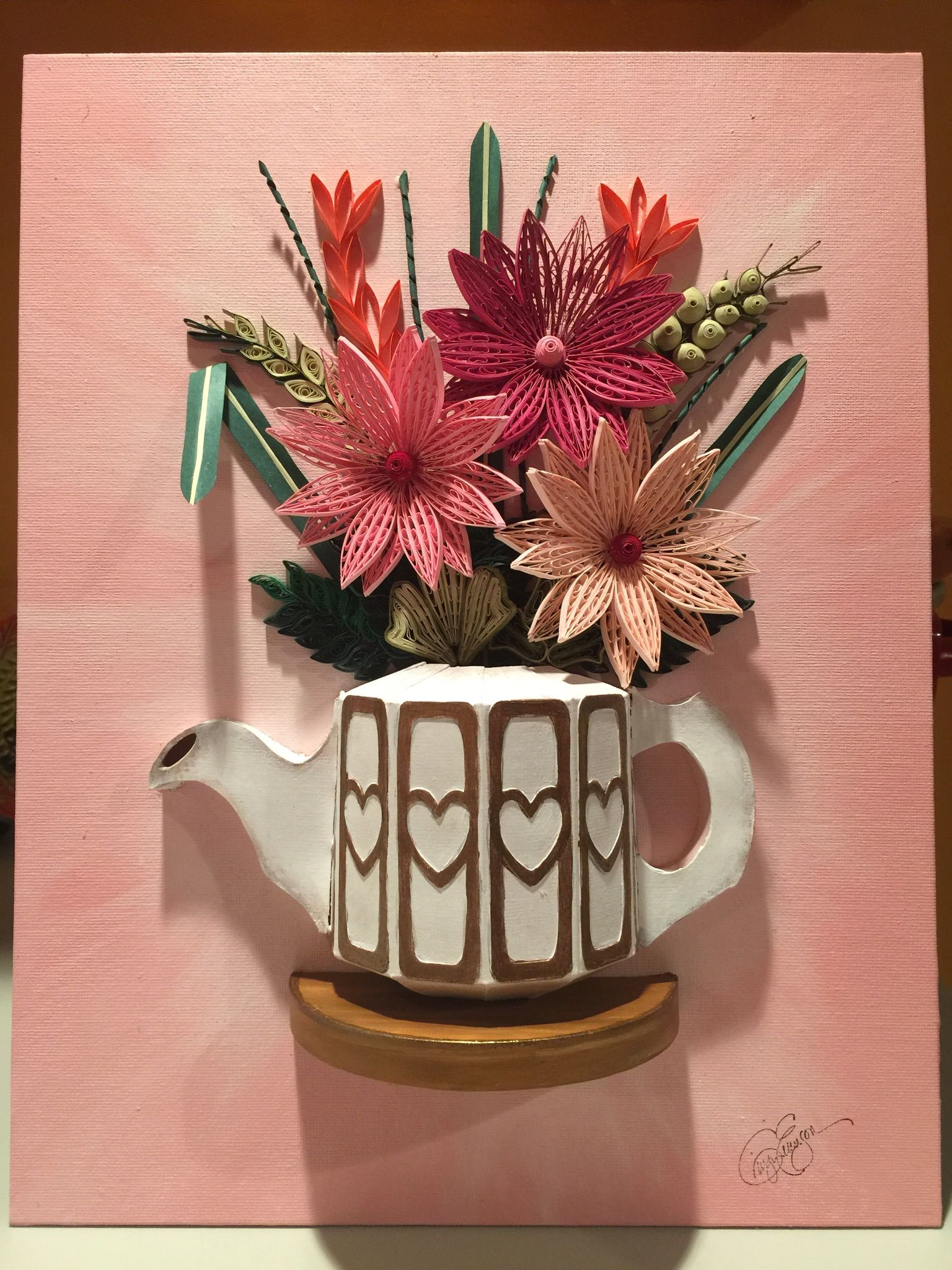Quilling Paper Teapot And Florals In Pink