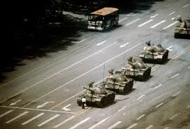 boy standing in front of tank - Tiananmen Square