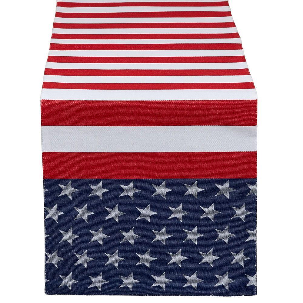 4th Of July Flag Stripe Jacquard Table Runner Americana