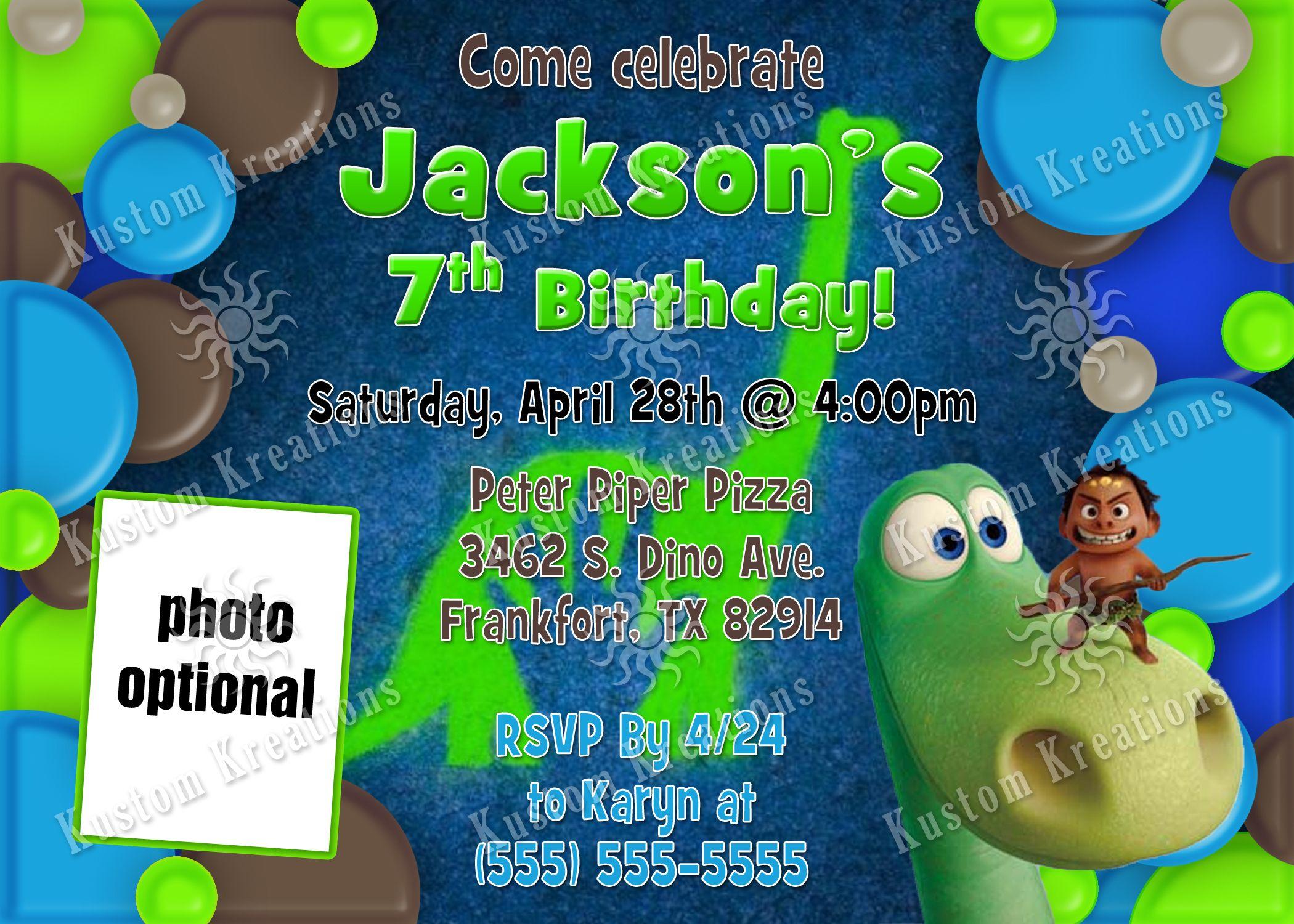 The Good Dinosaur Birthday Invitations | Dinosaur birthday ...