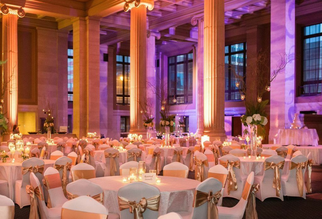 the columns all lit up wedding by southern event planners