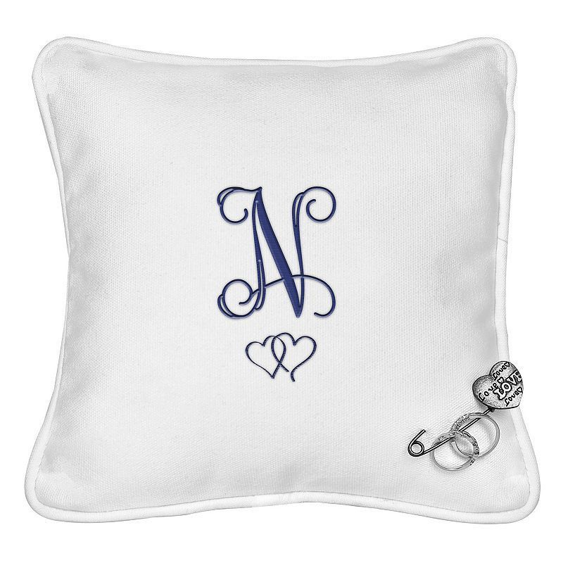 Cathy's Concepts Personalized Double Hearts Ring Bearer Pillow, Blue (Navy)