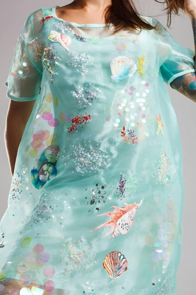 mermaid dress, mint dress, organza dress, festival clothing in 17