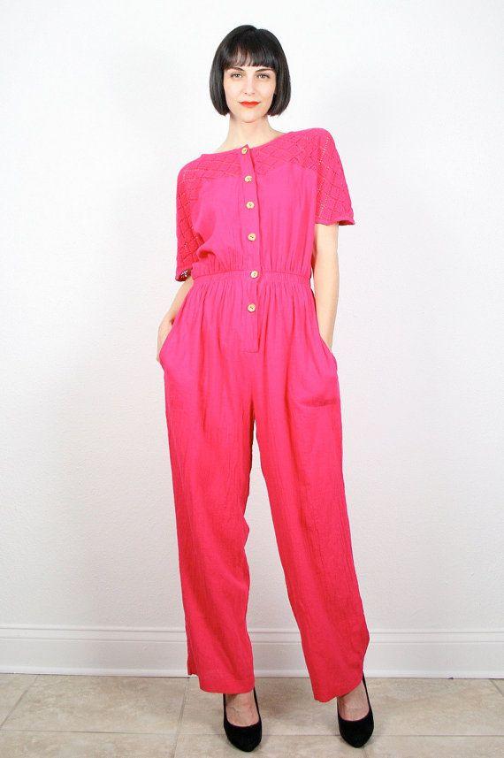 8e03b0402326 Vintage Jumpsuit Hot Pink Jumpsuit Wide Leg Pants Jumper Crochet ...