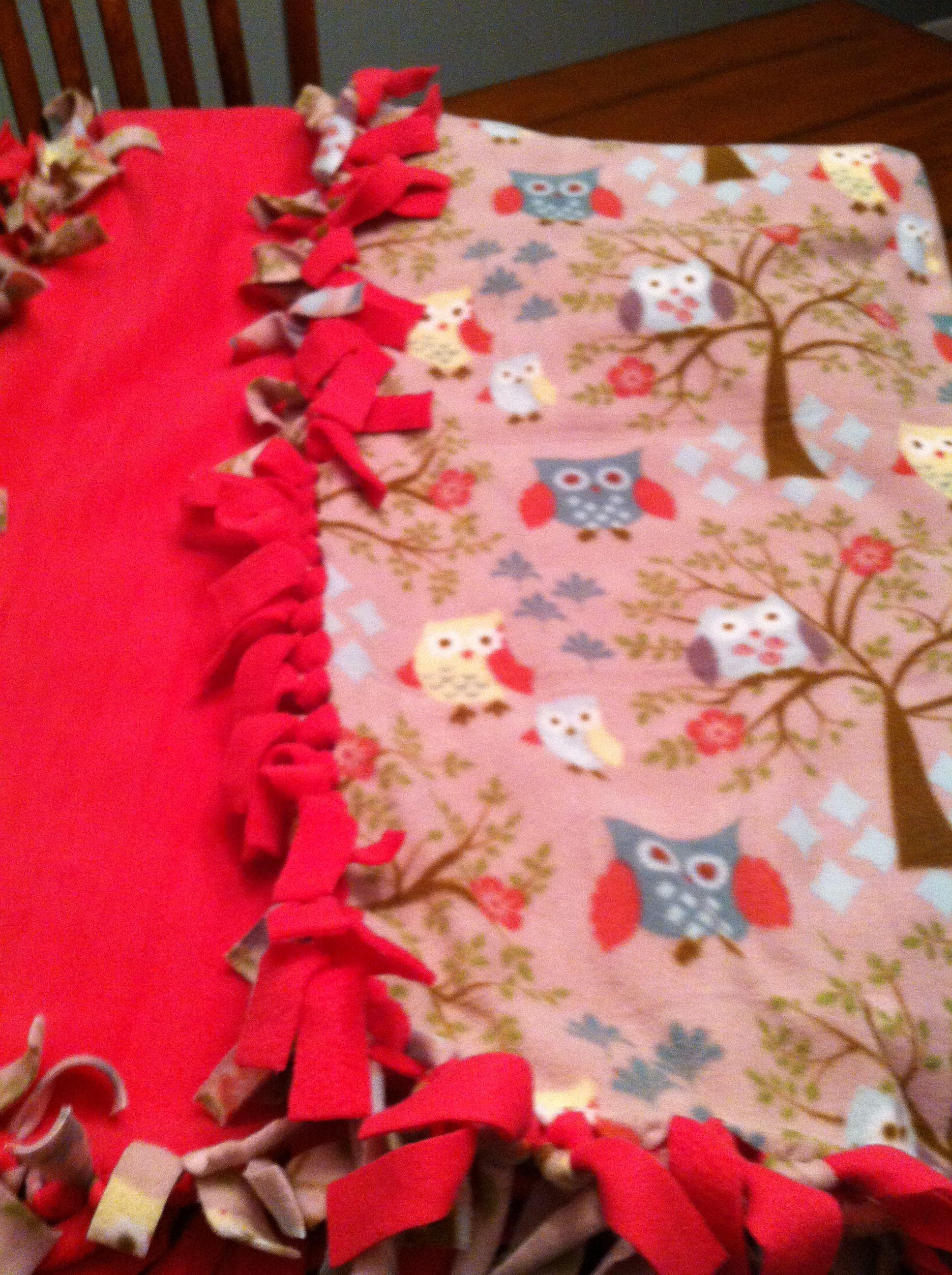 No sew fleece blanket in cute owl pattern useful info pinterest