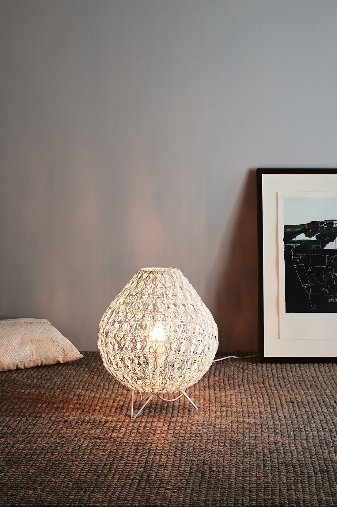 A Table Lamp In A Lotus Bud Form With A Contemporary Open Wire Weave Designed Shell Encasing A Single Globe Lamp White Table Lamp White Lamp