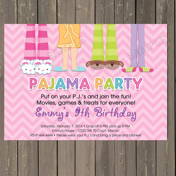 Pajama Party Sleepover Birthday Party Invitation In Pink Chevron Pj