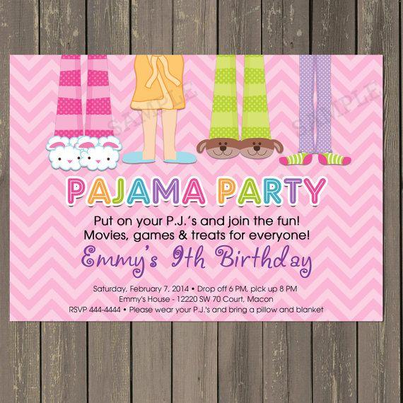 pijama party pijamada cumpleaos fiesta invitacin en rosa chevron invitacin fiesta de pj slumber party invite para imprimir o impresa