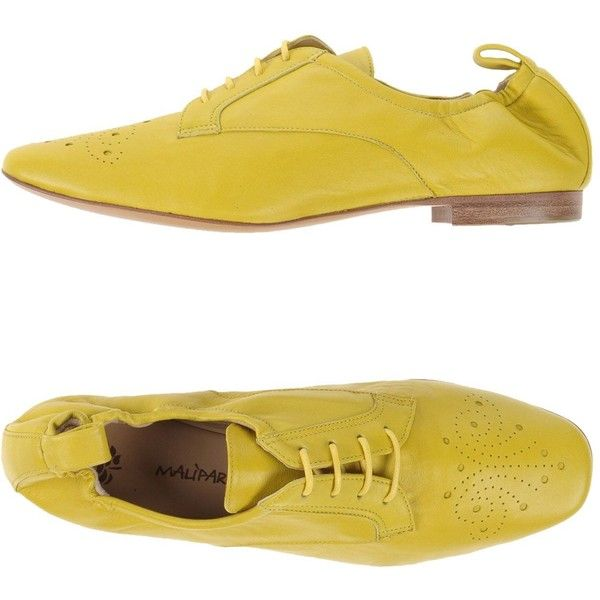 Maliparmi Lace-up Shoes (€210) ❤ liked on Polyvore featuring shoes, yellow, leather lace up shoes, square toe shoes, animal shoes, laced shoes and yellow shoes