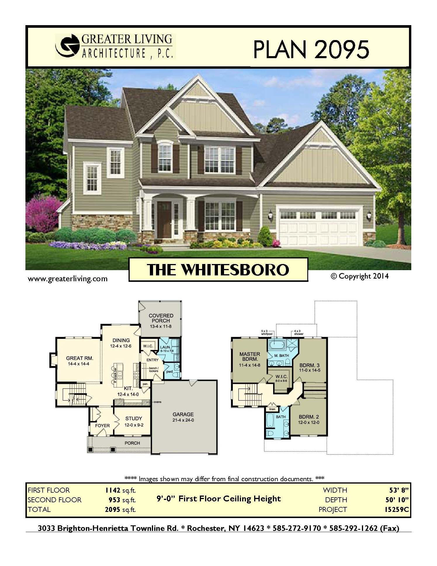 Plan 2095: THE WHITESBORO - Two Story House Plan - Greater Living ...