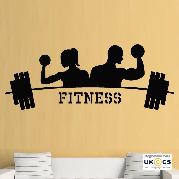 Gym Fitness Exercise Weights Cool Health Sport Wall Art Stickers ...