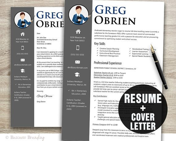 Teacher Resume Template Word \/ Cover Letter by BusinessBranding - cover letter for teachers resume