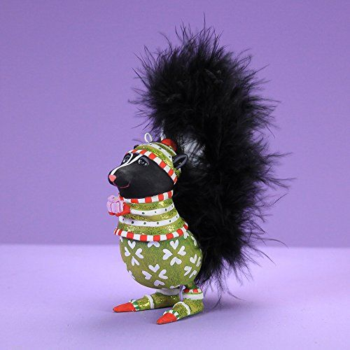 Product Features The Mini Sniffy Skunk Ornament will bring you joy with the  holiday. Finished with lovely hand painted detail and the sparkle of  glitter. - Patience Brewster Spring Home Decor Mini Sniffy Skunk Ornament
