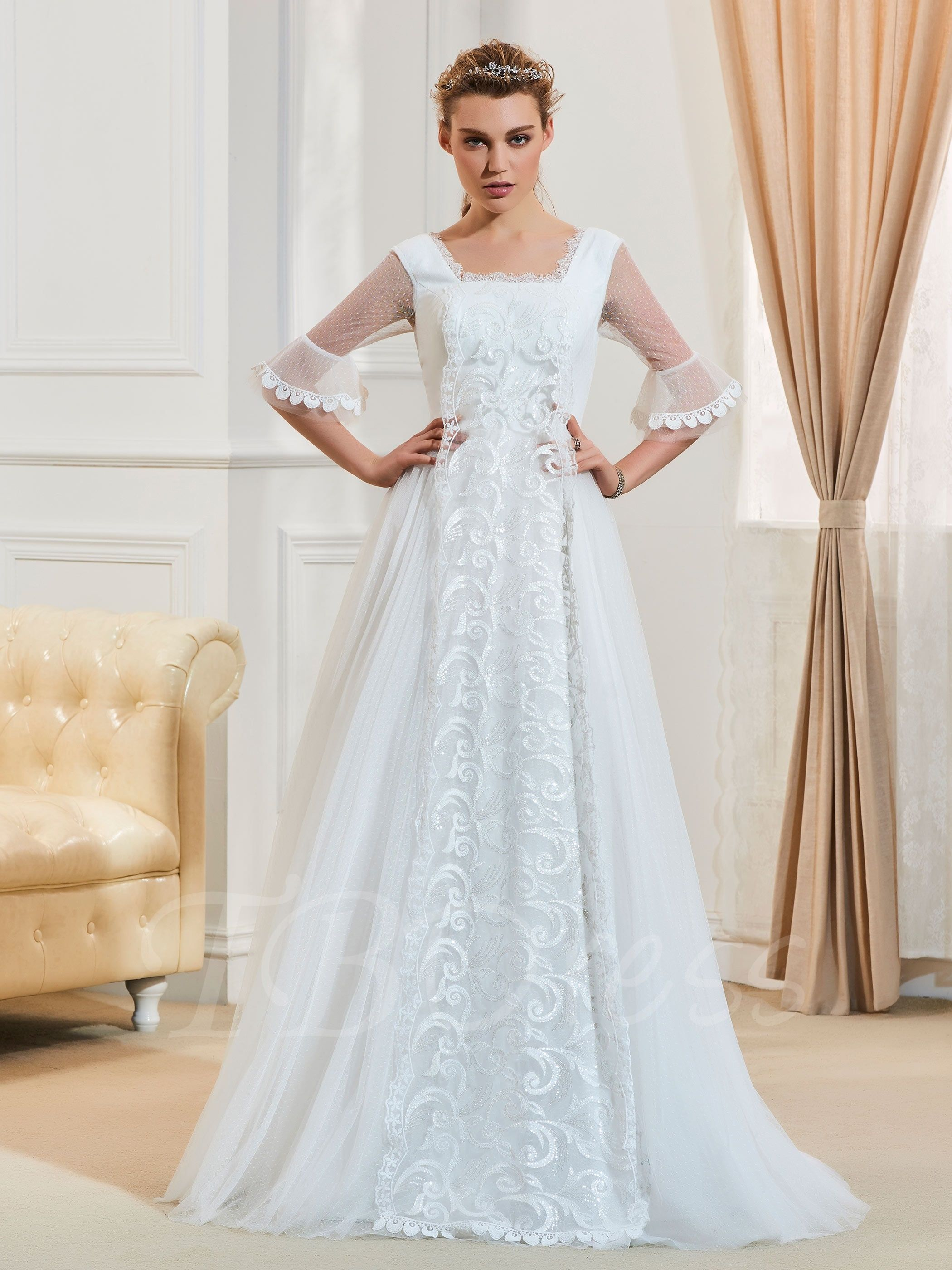 I Want This Dress In Black Tbdress Com Offers High Quality Square Neck Half Sleeves Appliques A Line Wedding Dr A Line Wedding Dress Wedding Dresses Dresses [ 2800 x 2100 Pixel ]