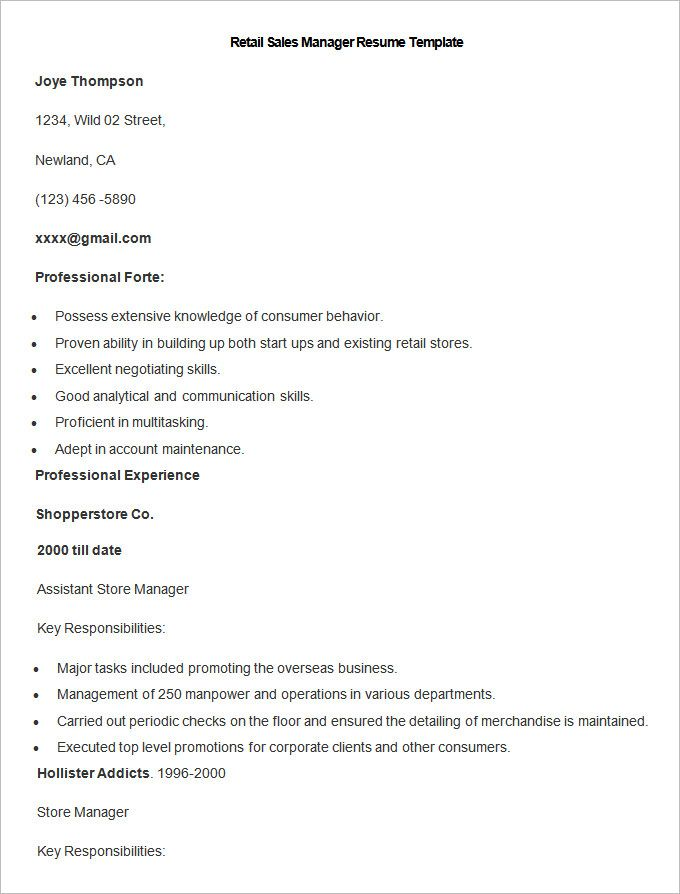 Sample Retail Sales Manager Resume Template Write Your Resume Much Easier With Sales Resume Examples Sal Sales Resume Examples Sales Resume Resume Template