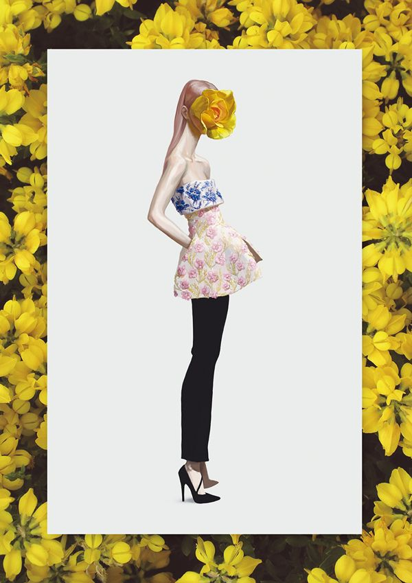 Ignasi Monreal has illustrated the F/W 2012 Haute Couture Collections for V Magazine Spain.  Showing looks by Armani Privé, Jean Paul Gaultier, Dior and others, they are extremely beautiful and vibrant; I love the marigold yellow.