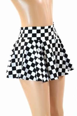 1219e3ccd7 Black & White Checkered Skater Skirt in 2019 | maureen | Mini skirts ...