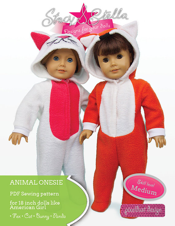 Animal Onesie Bundle Doll Clothes PDF Sewing Pattern for 18 inch ...