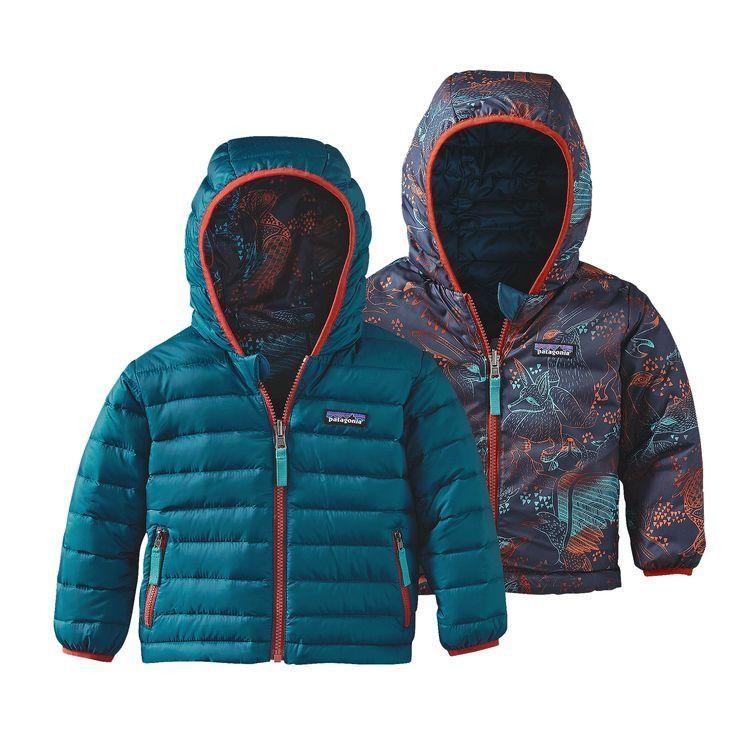 Patagonia Baby Reversible Down Sweater Hoody - Deep Sea Blue
