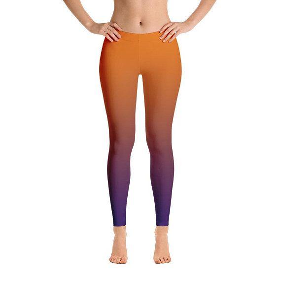 High Waist Yoga Shorts Workout Leggings Striped Print Womens Leggings Multicolor Lines Pattern Gradient Ombre Leggings