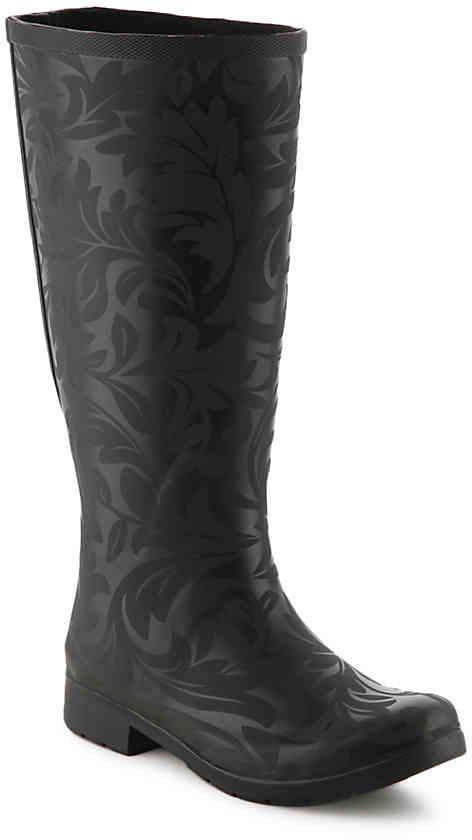 fa1575bd69d22f Women s Flex Fit Brocade Wide Calf Rain Boot  protection Waterproof ...